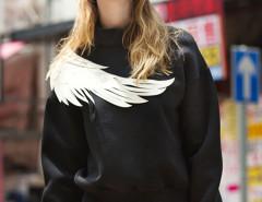 Black High Neck Wing Embellished Sweatshirt Choies.com online fashion store United Kingdom Europe