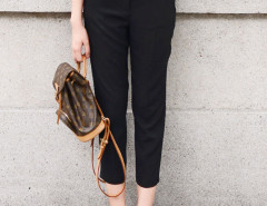 Black High Waist Belted Waist Ankle Pants Choies.com online fashion store United Kingdom Europe