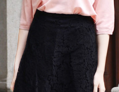 Black High Waist Eyelash Lace Skirt Choies.com online fashion store United Kingdom Europe