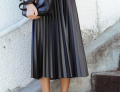 Black High Waist PU Pleat Midi Skirt Choies.com online fashion store United Kingdom Europe