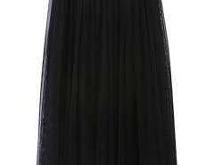Black High Waist Pleat Mesh Tulle Midi Skirt Choies.com online fashion store United Kingdom Europe