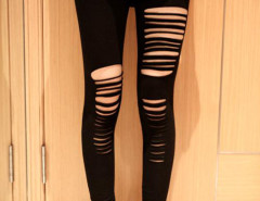 Black High Waist Sexy Ripped Bandage Strap Leggings Choies.com online fashion store United Kingdom Europe