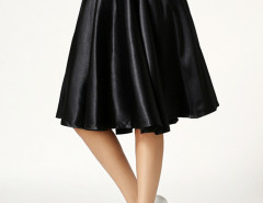 Black High Waist Skater Midi Skirt Choies.com online fashion store United Kingdom Europe