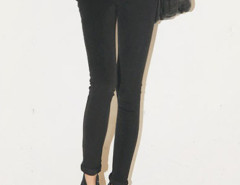 Black High Waist Two Button Skinny Jeans Choies.com online fashion store United Kingdom Europe