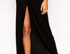 Black High Waist Wrap Ruched Split Maxi Skirt Choies.com online fashion store United Kingdom Europe