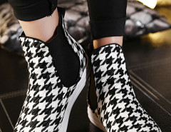 Black Houndstooth Plimsoll Flat Ankle Boots Choies.com online fashion store United Kingdom Europe