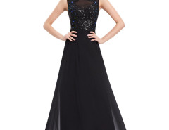 Black Jewel Sequined Open Back Round Neck Maxi Dress Choies.com online fashion store United Kingdom Europe