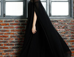 Black Lace Panel Cape Back Loose Maxi Dress Choies.com online fashion store United Kingdom Europe