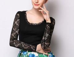 Black Lace Panel Cross Back Long Sleeve T-shirt Choies.com online fashion store United Kingdom Europe