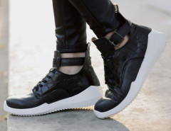 Black Lace Up Buckle Textured Sneakers Choies.com online fashion store United Kingdom Europe
