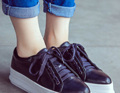 Black Lace Up Flatform Shoes Choies.com online fashion store United Kingdom Europe
