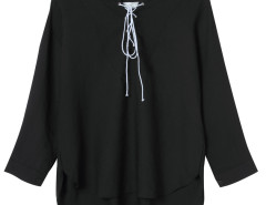 Black Lace Up Front 3/4 Sleeve Dipped Back Blouse Choies.com online fashion store United Kingdom Europe