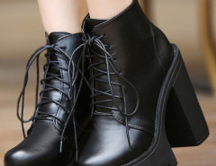 Black Lace Up Platform Boots Choies.com online fashion store United Kingdom Europe