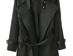 Black Lapel Belted Waist Pocket Slim Trench Coat Choies.com online fashion store United Kingdom Europe