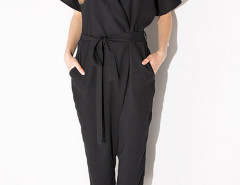 Black Lapel Tie Waist Jumpsuit Choies.com online fashion store United Kingdom Europe
