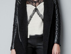 Black Lapel Zipper Detail PU Sleeve Coat Choies.com online fashion store United Kingdom Europe