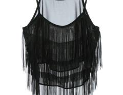 Black Layer Tassel Transparent Cami Crop Vest Choies.com online fashion store United Kingdom Europe