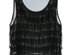 Black Layer Tassel Transparent Crop Vest Choies.com online fashion store United Kingdom Europe