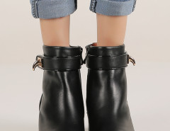 Black Leather Buckle Ankle Boots Choies.com online fashion store United Kingdom Europe