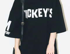 Black Letter Print Half Sleeve Boyfriend T-shirt Choies.com online fashion store United Kingdom Europe