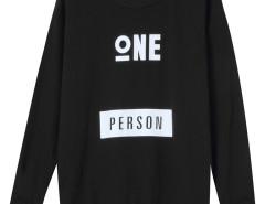 Black Letter Print Long Sleeve Sweatshirt Choies.com online fashion store United Kingdom Europe
