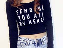 Black Letter Print Long Sleeve Tight Crop T-shirt Choies.com online fashion store United Kingdom Europe