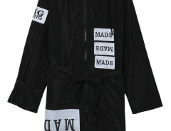Black Letters Tie Waist Zipper Hoodied Longline Coat Choies.com online fashion store United Kingdom Europe