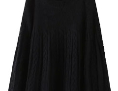 Black Long Sleeve Cable Knitted Cloak Cape Choies.com online fashion store United Kingdom Europe