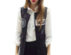 Black Mesh Letter Patch Pocket Waistcoat Choies.com online fashion store United Kingdom Europe