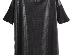 Black Mesh PU Short Sleeve T-shirt Dress Choies.com online fashion store United Kingdom Europe