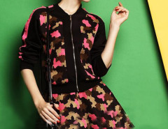 Black Mixed Floral Print Jacket And High Waist Skater Skirt Choies.com online fashion store United Kingdom Europe
