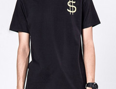 Black Money Talk Print Short Sleeve T-shirt Choies.com online fashion store United Kingdom Europe
