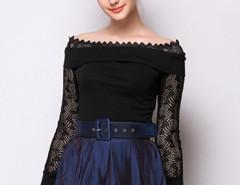 Black Off Shoulder Lace Panel Cut Out Back Long Sleeve T-shirt Choies.com online fashion store United Kingdom Europe