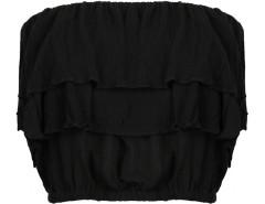 Black Off Shoulder Layered Elastic Flounce Blouse Choies.com online fashion store United Kingdom Europe