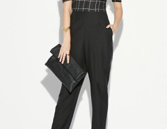 Black Off Shoulder Plaid Bandeau Jumpsuit Choies.com online fashion store United Kingdom Europe
