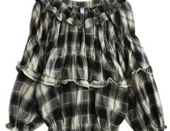 Black Off Shoulder Plaid Ruffle Elastic Blouse Choies.com online fashion store United Kingdom Europe