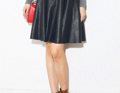 Black PU High Waist Belt Waist Skater Skirt Choies.com online fashion store United Kingdom Europe
