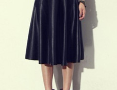 Black PU High Waist Skater Skirt Choies.com online fashion store United Kingdom Europe