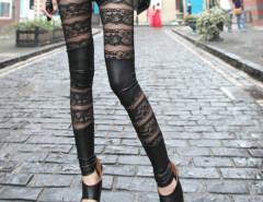 Black PU Panel Lace Legging Choies.com online fashion store United Kingdom Europe