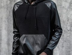 Black PU Panel Zip Side Drawstring Hoodie Choies.com online fashion store United Kingdom Europe