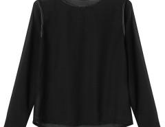 Black PU Trims Panel Hi-lo Long Sleeve Blouse Choies.com online fashion store United Kingdom Europe