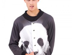 Black Panda Printed Polyester Baseball Jacket Carnet de Mode online fashion store Europe France