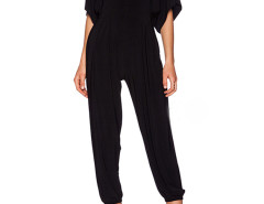Black Plunge Ruffle Batwing Sleeve Jumpsuit Choies.com online fashion store United Kingdom Europe
