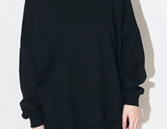 Black Pocket Long Sleeve Sweatshirt And Drawstring Waist Shorts Choies.com online fashion store United Kingdom Europe