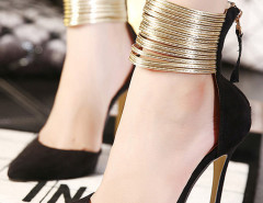 Black Pointed Metallic Strap Zip Detail High Heeled Pumps Choies.com online fashion store United Kingdom Europe