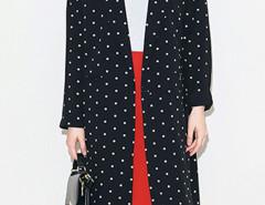 Black Polka Dot Lapel Long Sleeve Longline Blazer Choies.com online fashion store United Kingdom Europe