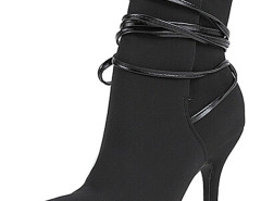 Black Ponited Toe Strappy Heeled Boots Choies.com online fashion store United Kingdom Europe