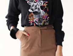 Black Reindeer Pattern High Neck Long Sleeve Sweatshirt Choies.com online fashion store United Kingdom Europe