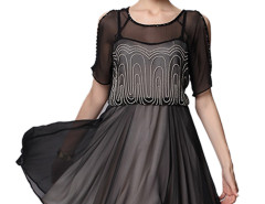 Black Round Neck Bead Embellished Cut Out Sleeve Tulle Dress Choies.com online fashion store United Kingdom Europe