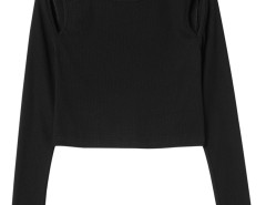 Black Round Neck Cut Out Long Sleeve T-shirt Choies.com online fashion store United Kingdom Europe
